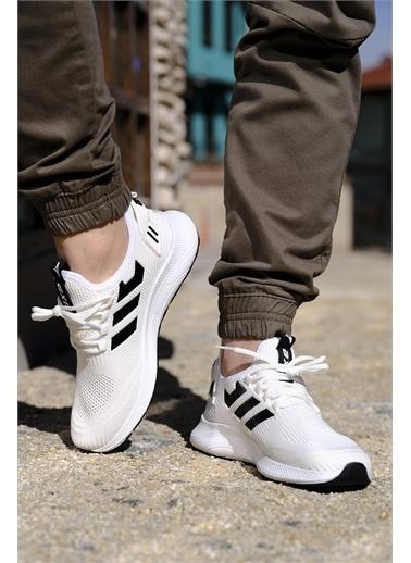 Oksit Ulrich Renk Desen Detaylı Fileli Erkek Sneaker Beyaz
